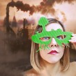 Anti-pollution girl — Stock Photo