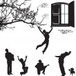 Love the silhouettes of men under the window - Stock Vector