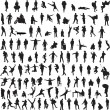 Collection silhouettes of men - Stock Vector