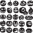 Silhouettes of Halloween pumpkin — Stock Vector