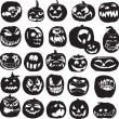 Stock Vector: Silhouettes of Halloween pumpkin