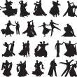 Silhouettes of couples dancing ballroom dance — Vettoriale Stock  #12833453