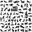 Different set of silhouettes of cats — Stock Vector