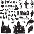 Set of silhouettes symbolizing Halloween — Stock Vector