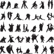 Set of silhouettes of couples dancing tango — Stock Vector