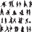 Silhouettes of couples ballroom dancing - Stockvektor