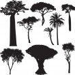 African tree silhouettes — Stock Vector