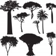 Stock Vector: Africtree silhouettes