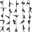 Set of silhouettes of pole dancers — Imagen vectorial