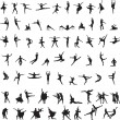 Stock Vector: Set of silhouettes of ballet dancers
