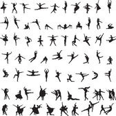 Set of silhouettes of ballet dancers — Vettoriale Stock