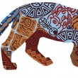 Постер, плакат: Jaguar in the ethnic pattern of Indians