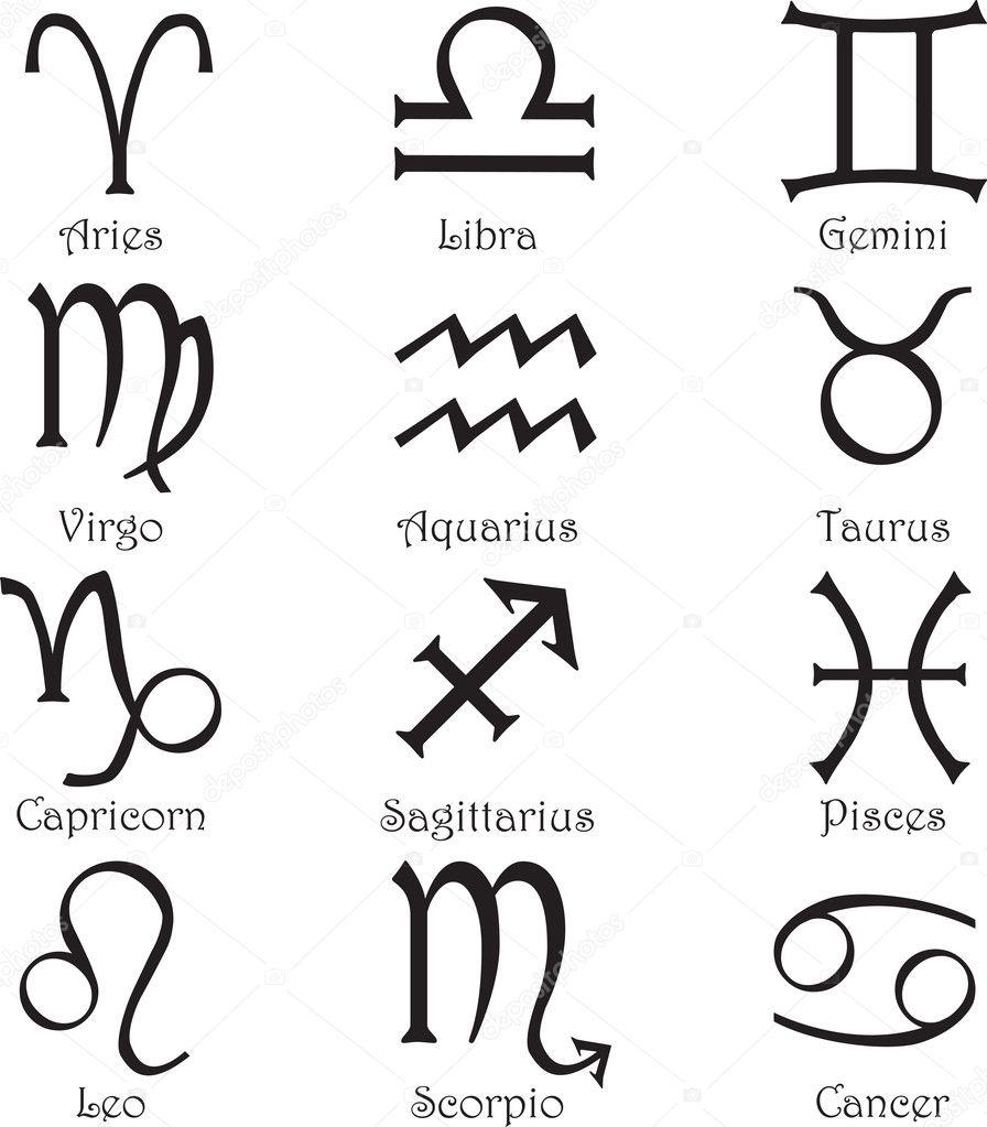 Set of 12 zodiac signs on a