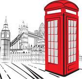 Skizzieren sie london stadt — Stockvektor
