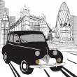 Sketch London taxi - Stock Vector
