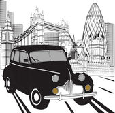 Sketch London taxi — Vector de stock