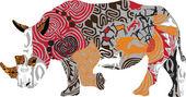 Silueta de un rinoceronte en estampados étnicos — Vector de stock