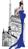 Parisian woman on a background of city — Stock Vector