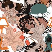 Bezszwowe tło w stylu art nouveau — Wektor stockowy
