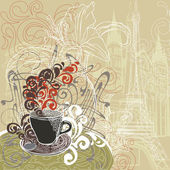 Coffee in a Paris cafe — Stock Vector