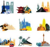 Miniatury různé země — Stock vektor