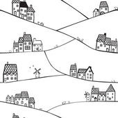 Hills and houses — Vector de stock
