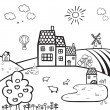 Farm black and white landscape — Stock Vector #50157781