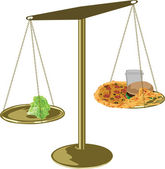 Healthy food scales — 图库矢量图片