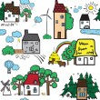Seamless pattern with houses — Stock Vector #51323101