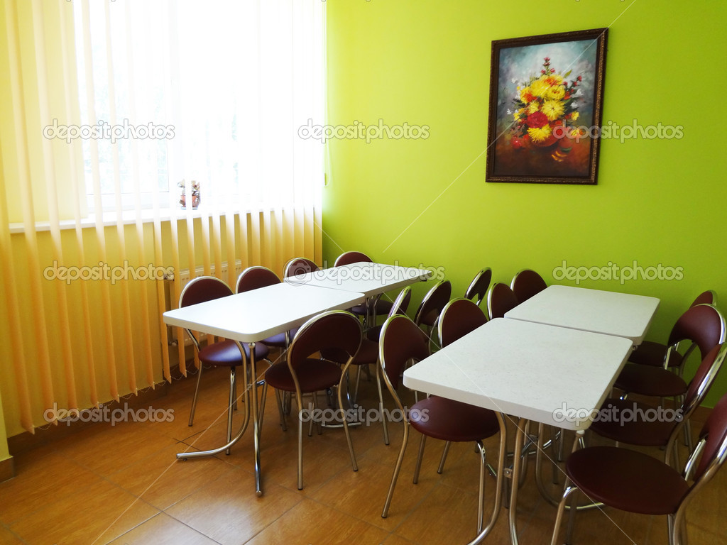 Room for eating in yellow-green tone — Stock Photo #13208032
