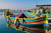 Colored boats, Malta — Stock Photo