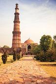 Qutub Minar Tower brick minaret in Delhi India — Stock Photo