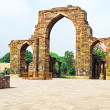 Iron Pillar and Qutab Minar Ruins Delhi India — Stock Photo