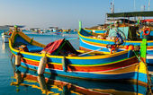 Colored fishing boats, Malta — Stock Photo