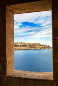 View of Valletta and Grand Harbour in window — Stock Photo