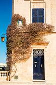 Bougainvillea tree by doorway in Mdina, Malta. — Stock Photo