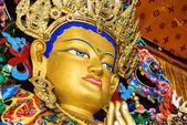 Buddha maitreya statue close up in a monastery — Stock Photo