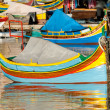 Colored Fishing boats in Marsaxlokk harbor, Malta — Stock Photo