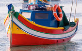 Colored Fishing boats in  Marsaxlokk harbor, Malta — Stock Photo