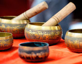 Buddhist singing bowl metall  vases group — Stock Photo