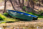 Wooden Boat in a sanctuary — Stock Photo