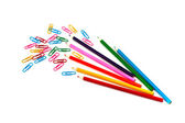 Staples and pencils — Stock Photo