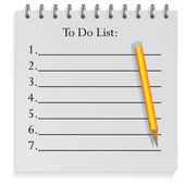 Classic notepad to do list with pencil — Stock Vector