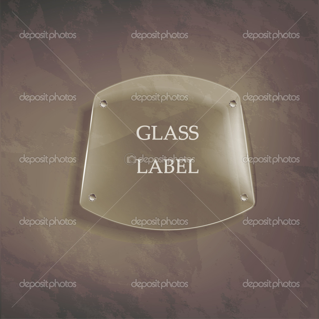 Transparent glass label on the wall  Imagen vectorial #16222753