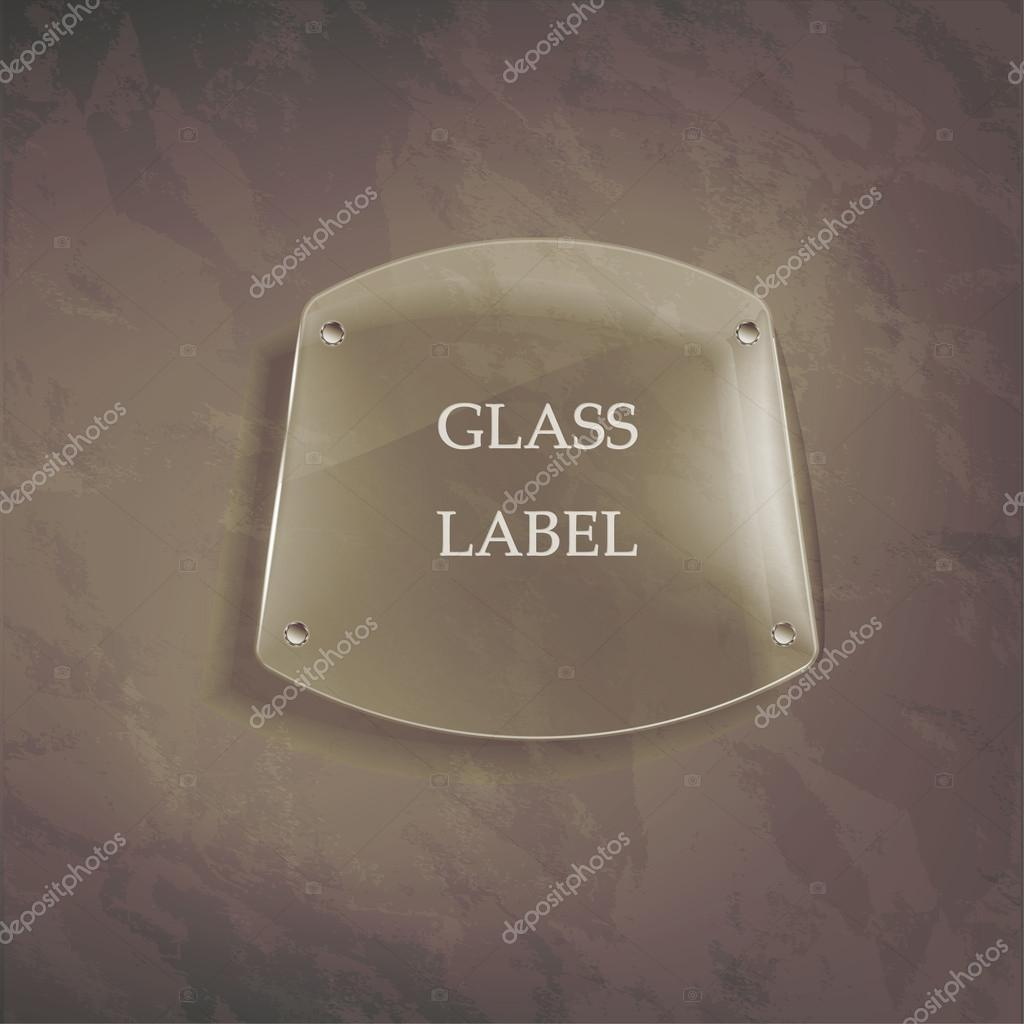 Transparent glass label on the wall — Imagen vectorial #16222753