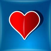 Símbolo do coração no rótulo do vidro — Fotografia Stock