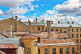 Weathered city building roofs in Riga — Stock Photo