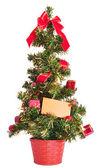 Christmas tree with blank card — Stock Photo