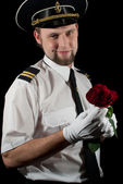 Seaman giving the rose — Stock Photo