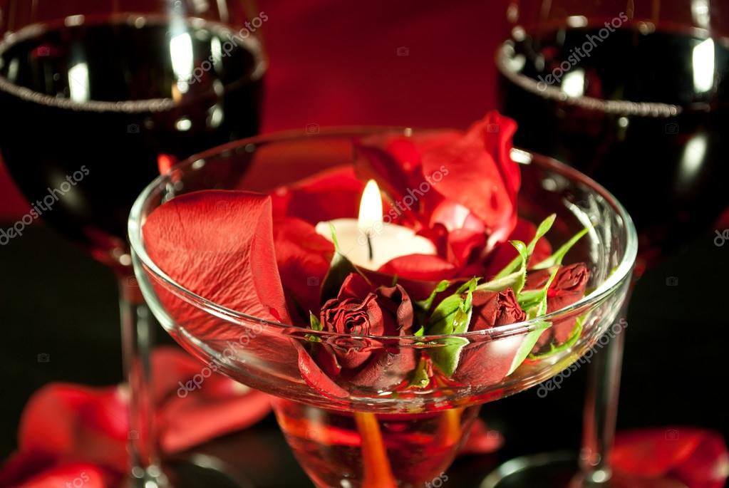 Romantic dinner with red wine — Stock Photo #18607819